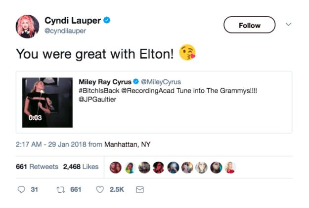 When Cyndi Lauper sang Miley Cyrus' praises: