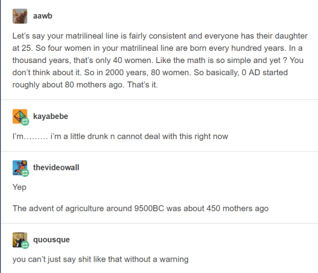 Jesus was born about 80 mothers ago.