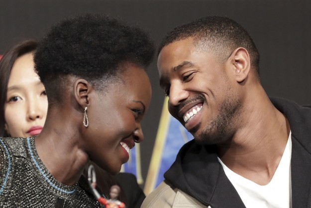 The photos almost give the impression that Michael and Lupita were promoting their own private romantic comedy, while the rest of the star-studded cast talked about the film.