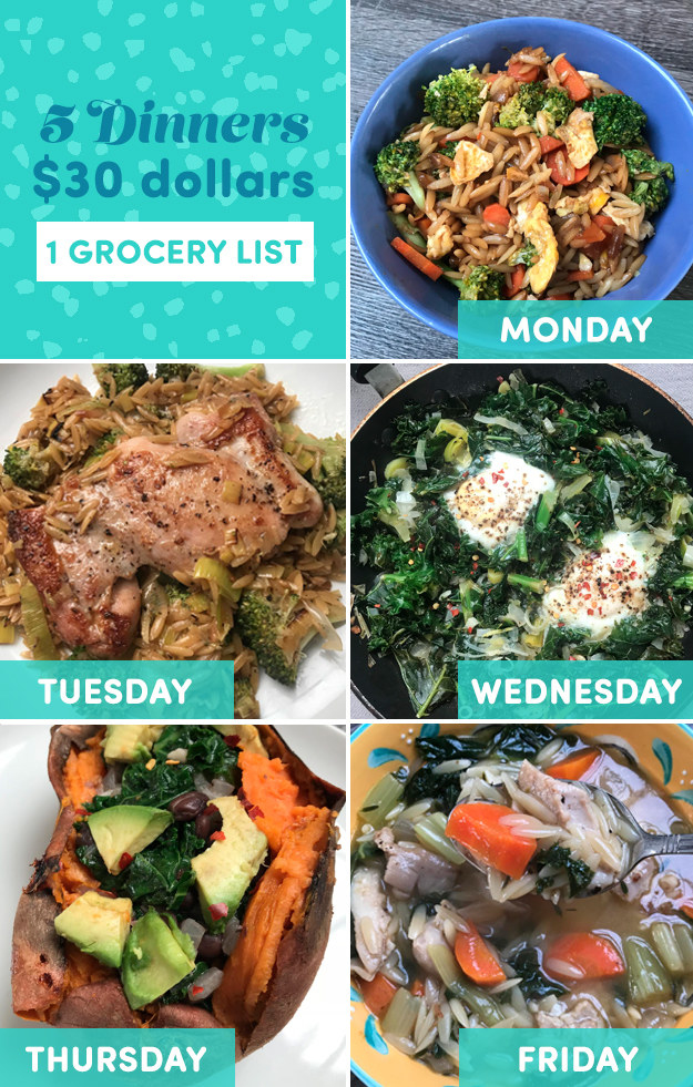 Here was my menu for the week. With Sunday's prep, no meal took longer than 30 minutes to make.