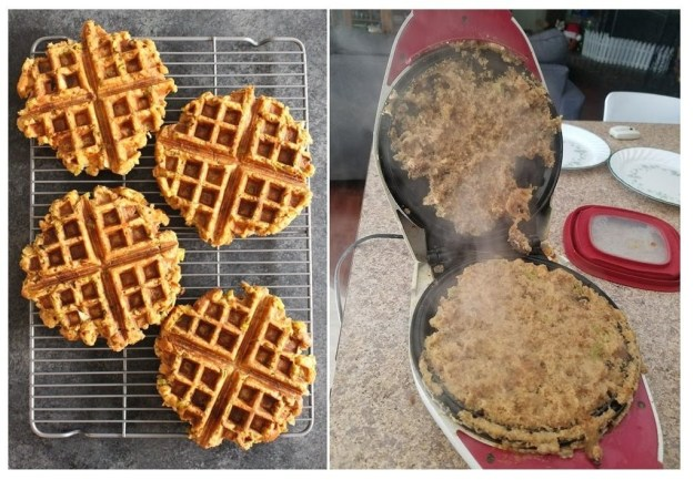 "The person who took a gamble and tried these ""leftover stuffing"" waffles."