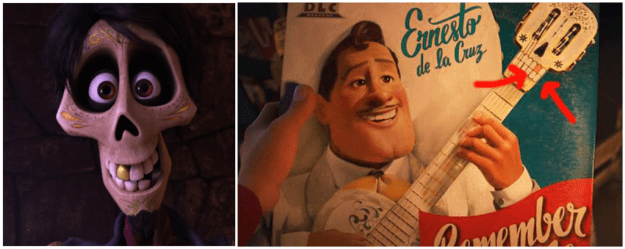 In Coco, both Hector and Ernesto de la Cruz's guitar have a single gold tooth — revealing that the guitar actually belonged to Hector.