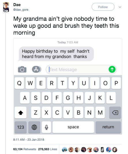 This guy basically woke up and was already roasted by his grandmother: