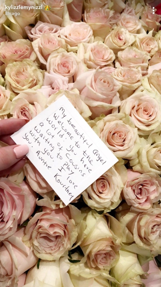 While Kourtney sent a bunch of roses with the sweetest message attached. I didn't cry, I swear.