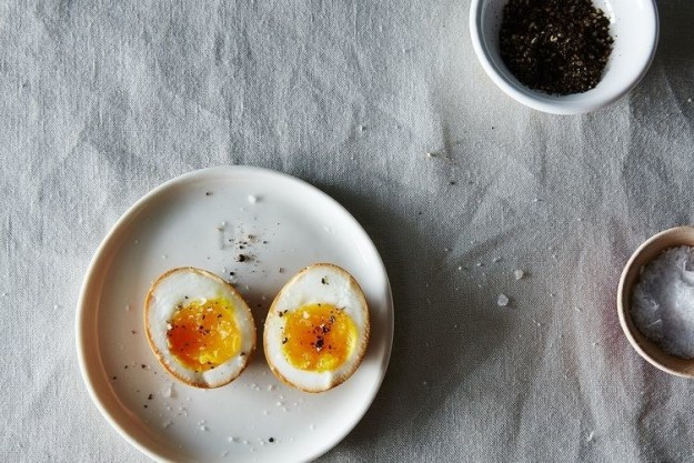 Marinate your boiled eggs in soy sauce to give them a beautiful tan color and deep, salty flavor.