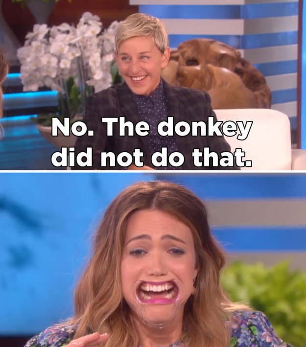 "Especially because it reeeeally sounded like she was saying the donkey...did something to her mom that sounds like ""bucked"" but is not ""bucked,"" know what I mean?"