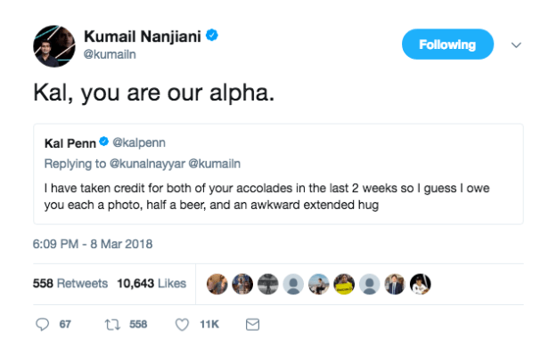 To which Kumail replied: