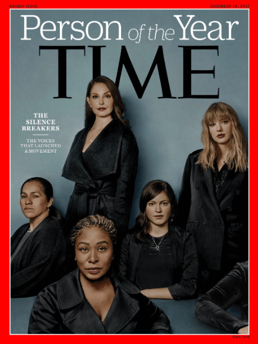 "Later in December Taylor was unveiled as one of the cover stars of Time's ""Person of the Year"" issue, dedicated to the women who had spoken out against sexual harassment and assault."