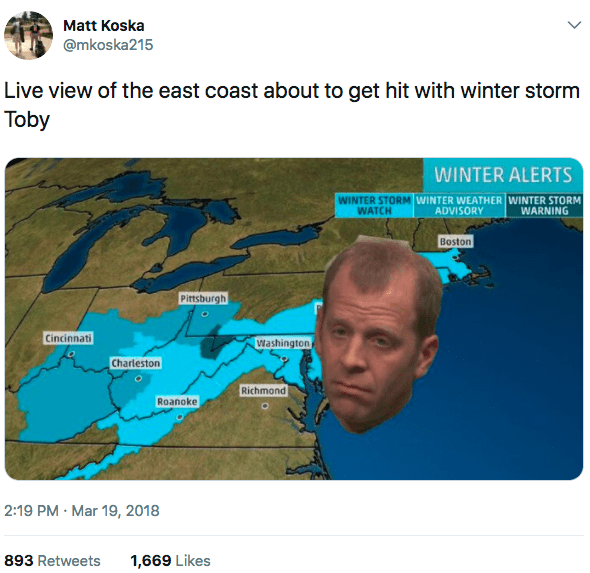 """The funny thing is, the storm has been named """"Winter Storm Toby"""" and, OF COURSE, it has inspired a bunch of The Office memes."""