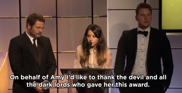 When she accepted an award and summoned Satan on behalf of Amy Poehler: