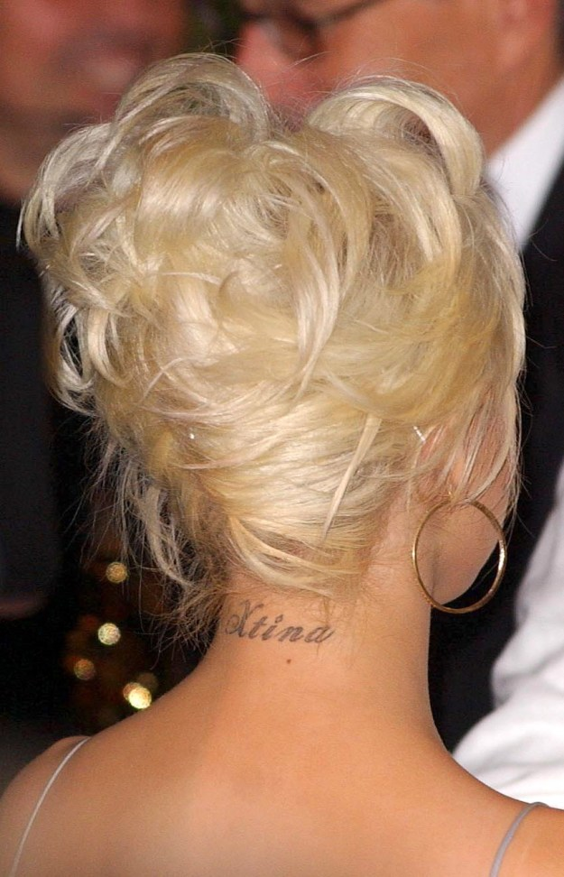 "Christina Aguilera's reminder to her neck that her name is ""Xtina."""