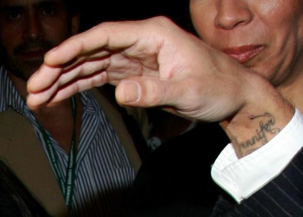 "Marc Anthony's ""Jennifer"" as in Jennifer Lopez tattoo."