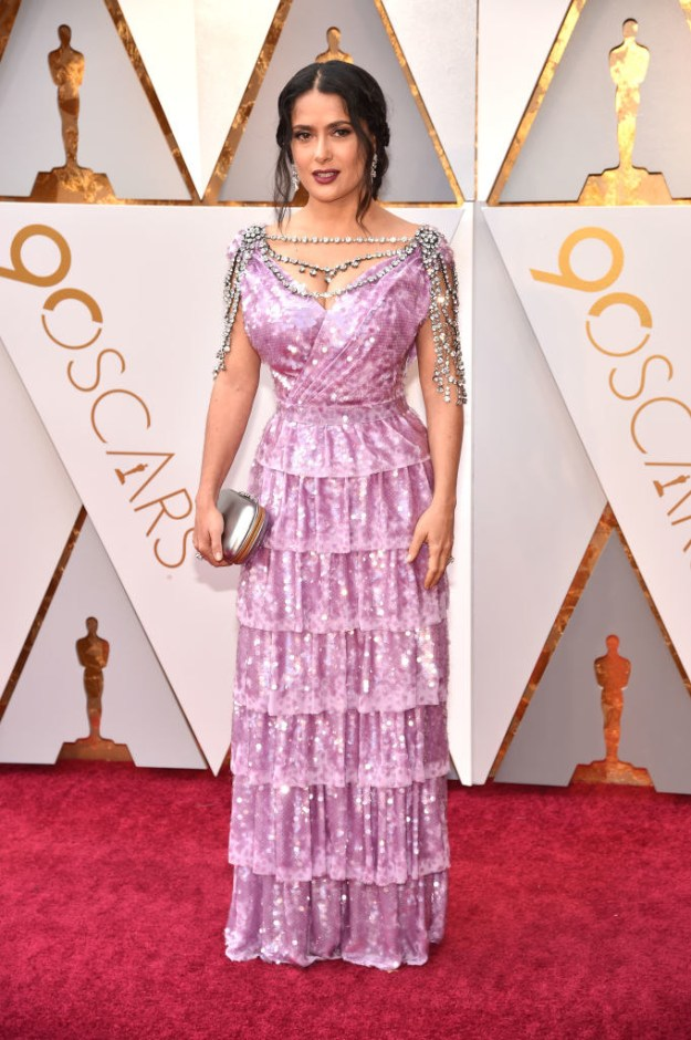 Hello, everyone. I have gathered you here today to talk about Salma Hayek Pinault and her incredible, sparkly dress of my dreams at this year's Oscars.