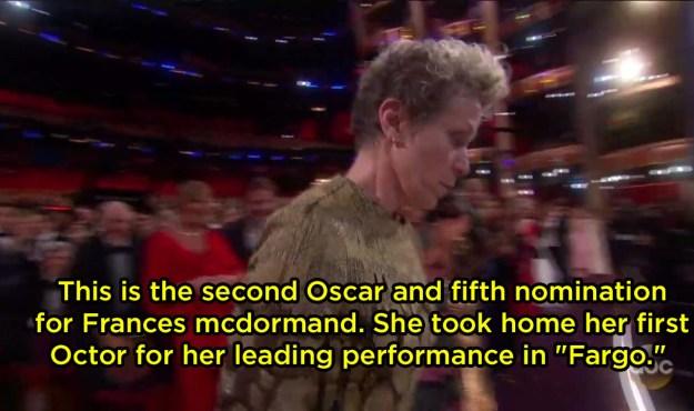 "The narrator called an Oscar an ""Octor"" (??) when Frances McDormand won:"
