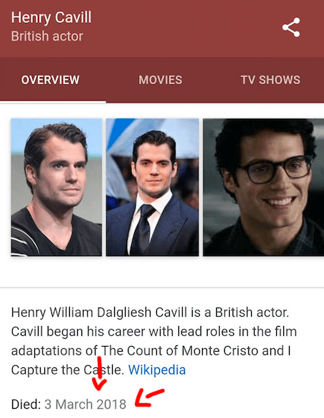 So there I was, living life carefree on the internet, when I got the worst news – Henry Cavill had died two days ago.