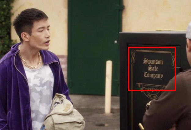 In The Good Place, the safe Jason buys is from the Swanson Safe Company, a nod to Ron Swanson from Parks and Rec.