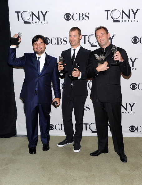 Here he is after winning his second and third Tony Awards, alongside his Book of Mormon cowriters, Matt Stone and Trey Parker.