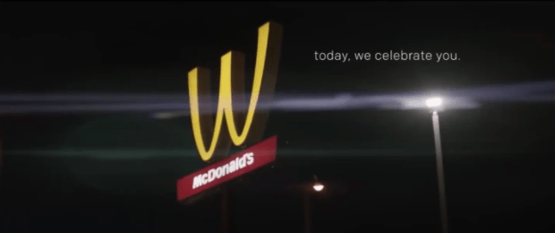 """Also celebrating International Women's Day, McDonalds flipped its golden arches upside down on Thursday so it would look like a """"W"""" instead of an """"M,"""" because women."""