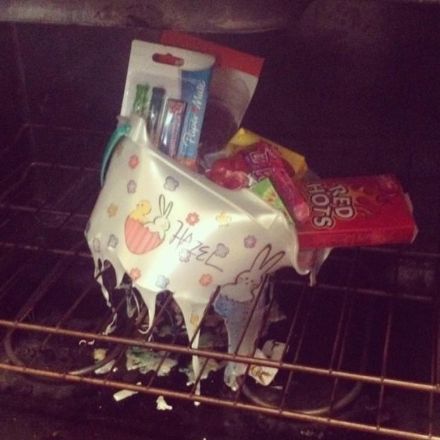 This mom who hid her child's Easter basket in the oven, and then totally forgot approximately it.