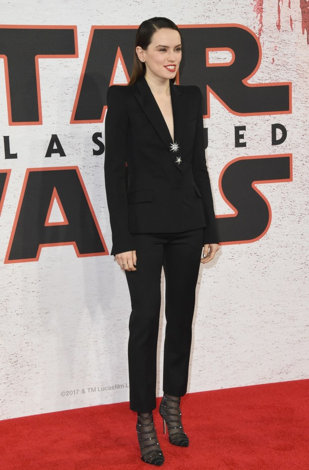 That time she wore a suit to The Last Jedi premiere.