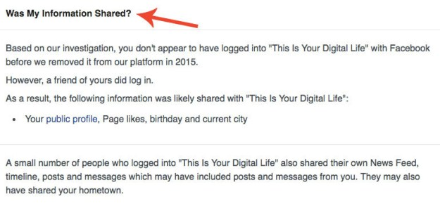 But here's a key point: You didn't need to take the Cambridge personality quiz for your data to get shared — all it took was for one of your Facebook friends to have done so. As such the 270,000 people who took the quiz gave the app access to tens of millions of their friends' data.