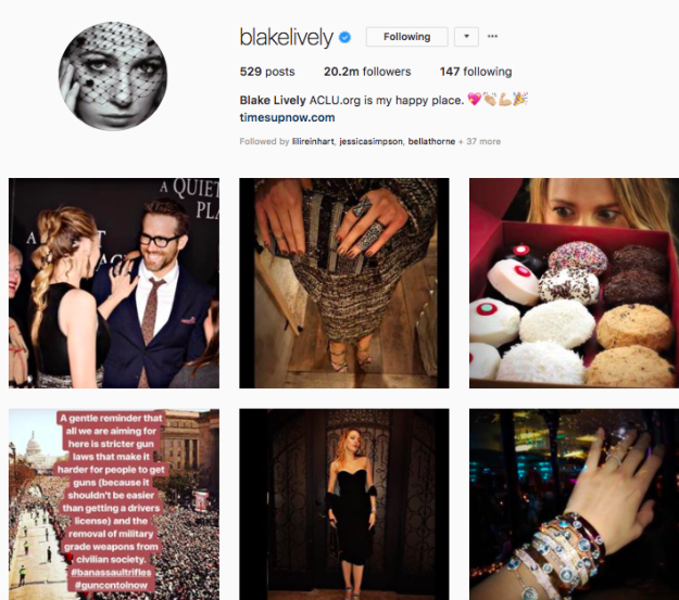 2) Blake thinks her own feed is, uhhhh, less than well-curated: