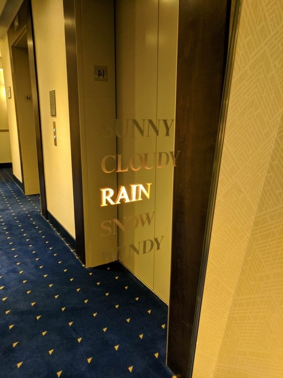 ...while this hotel's mirror tells you the weather.