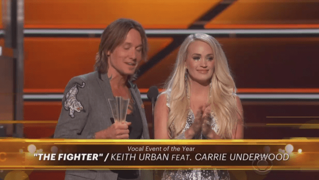"Following her performance, Carrie won Vocal Event of the Year alongside Keith Urban for their duet ""The Fighter."""