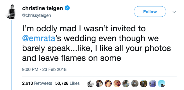 """She tweeted saying she was """"oddly mad"""" she wasn't invited because she likes all her Instas and comments flames."""