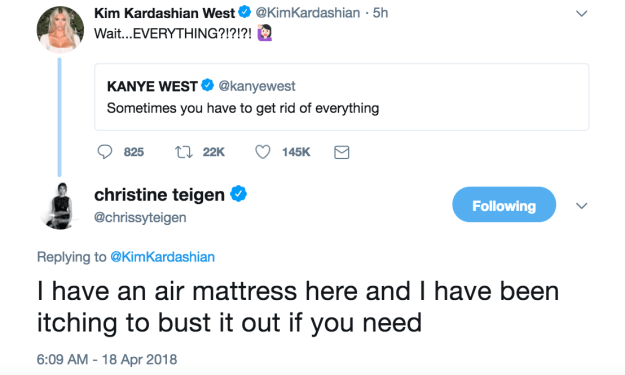 However, the roasting didn't end there because then Chrissy Teigen, who's BFFs with Kim and Kanye, decided to chime in and offer her friend a bed for the night.