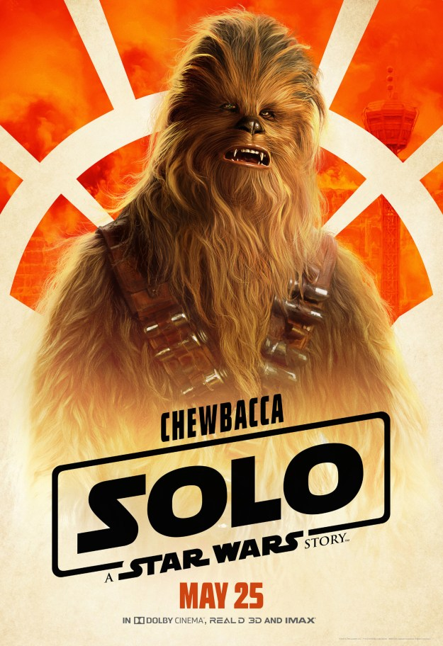 Chewbacca (Joonas Suotamo) is looking debonaire and not at all like a walking carpet.