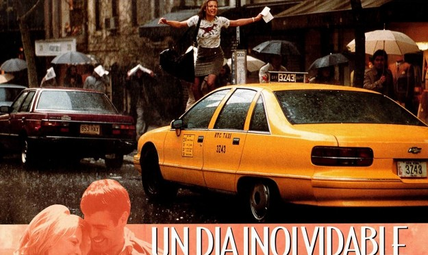 She braved the rain and jumped over taxis in the t-shirt.