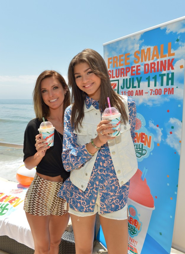 Audrina Patridge and Zendaya (random pairing LOL) posed at a 7/11 Day event with their free Slurpees...we're wondering what flavors they picked?!