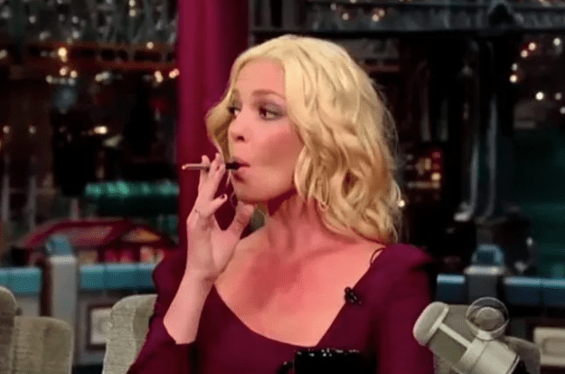 Professional badass, Katherine Heigl, vaping on friggin' live TV!