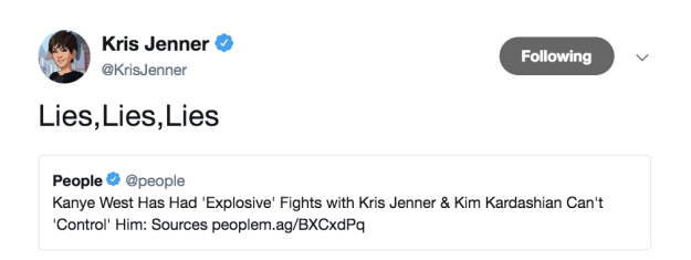 """Kris """"No Days Off"""" Jenner immediately went into emergency spin mode, denying not one..."""