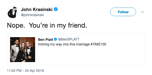 John Krasinski invited Ben Platt into his marriage.