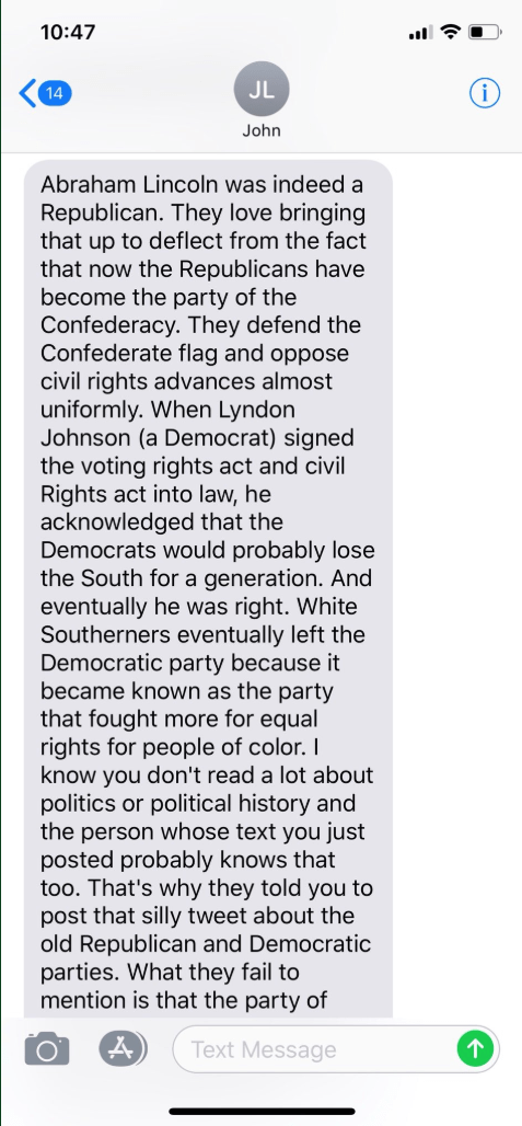 West learned that while it's true that Lincoln was a Republican and was responsible for the amendments that freed slaves, it was Democrat Lyndon B. Johnson who passed the Civil Rights Act, ending segregation and pushing African Americans and white Southerners to swap political parties.