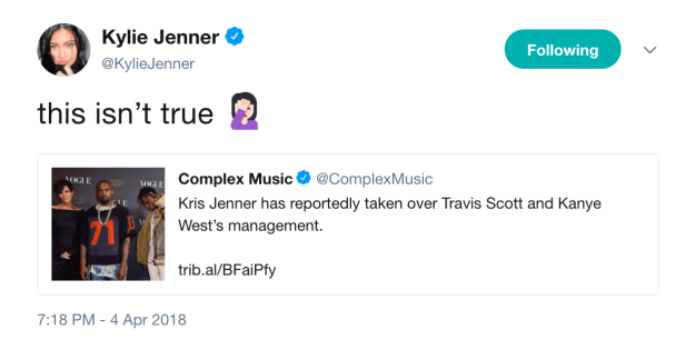 Taking to Twitter, Kylie said the reports weren't true, adding a face palm emoji.