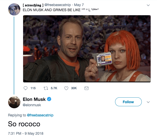 Musk is on it, too. He responded to this tweet with a reference to the story of how he and Grimes got together, which is very nerdy and worth reading.