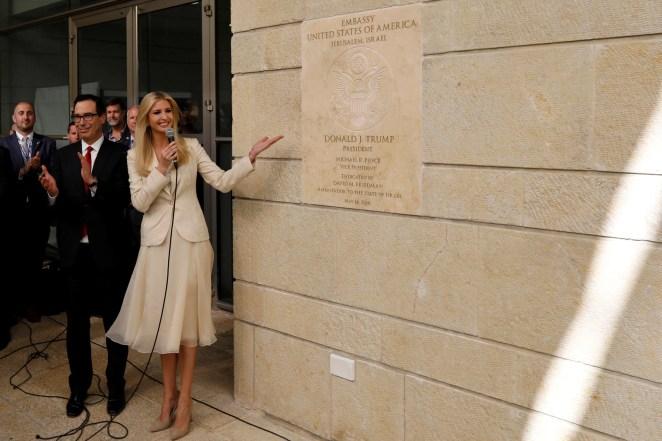 Senior White House Adviser Ivanka Trump and US Treasury Secretary Steven Mnuchin next to the dedication plaque at the US Embassy in Jerusalem.