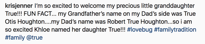 """And she obviously couldn't use the name """"Dream,"""" because that's what Rob Kardashian's daughter is called."""