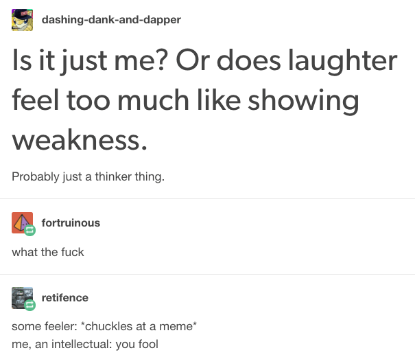 thinking type doesn't like laughing