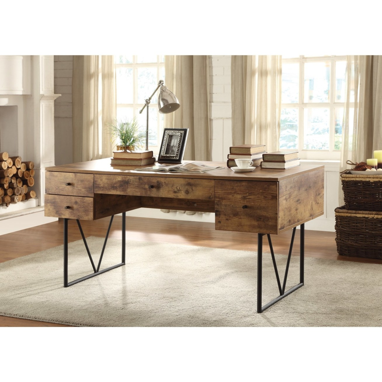 "Promising review: ""Beautiful! This desk looks just like the reclaimed wooden ones selling for over 00. VERY large in person and quite heavy, but definitely worth it. My husband has desk envy and is returning his desk and purchasing this one instead! Feels like a very high quality desk (definitely a steal for the quality)."" —AHoffman1991Price: 1.99"