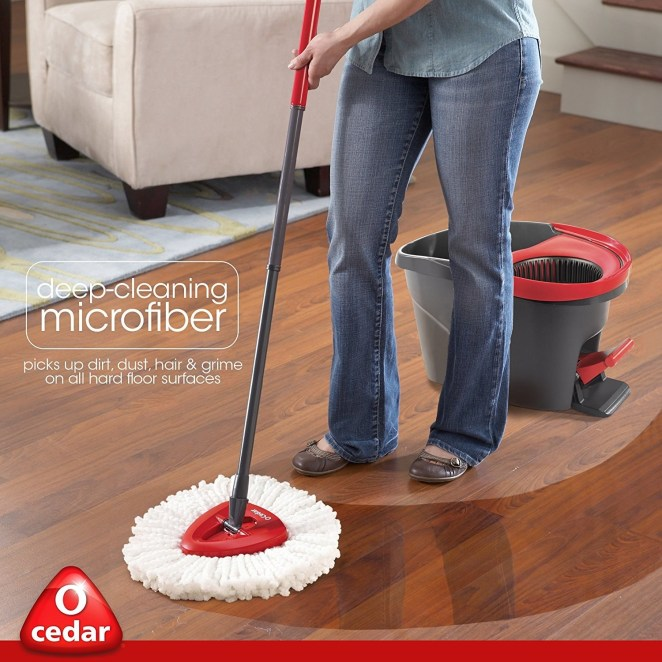 "Promising review: ""I'm in love. I don't imagine there is anyone who really likes to clean floors, I sure don't. Well, that might change because this product is amazing. I hated to do bathroom and kitchen floors, but with this I zipped through them. The spinner did a great job. You can make the mop as wet/dry as you want (no more rubber gloves!). The mop head is probably one of the best I've used. The handle is surprising sturdy, far better than Swiffer. The nice thing is you can use your own floor products, so no residue left that makes the floor sticky. In fact I loved it so much I purchased it for a friend. If it was a little less expensive (but worth every penny), I'd buy one for all my friends. Who knows maybe it will be my Christmas gift of choice this year! : ) They'd probably think I was crazy until they used it."" —Sandi Price: $29.97"