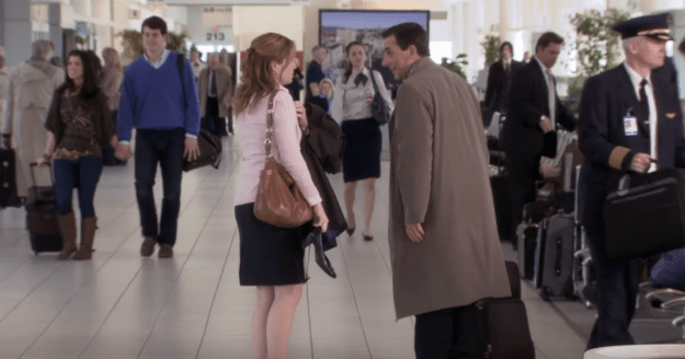 To refresh your memory, Pam nearly missed Michael's departure from Scranton (and the show), but in true TV fashion, she made it to the airport just in time to say goodbye.