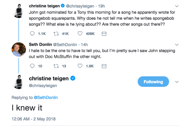 But then one fan joked that John's next musical collaboration would be with Doc McStuffins, and Chrissy was down for it.