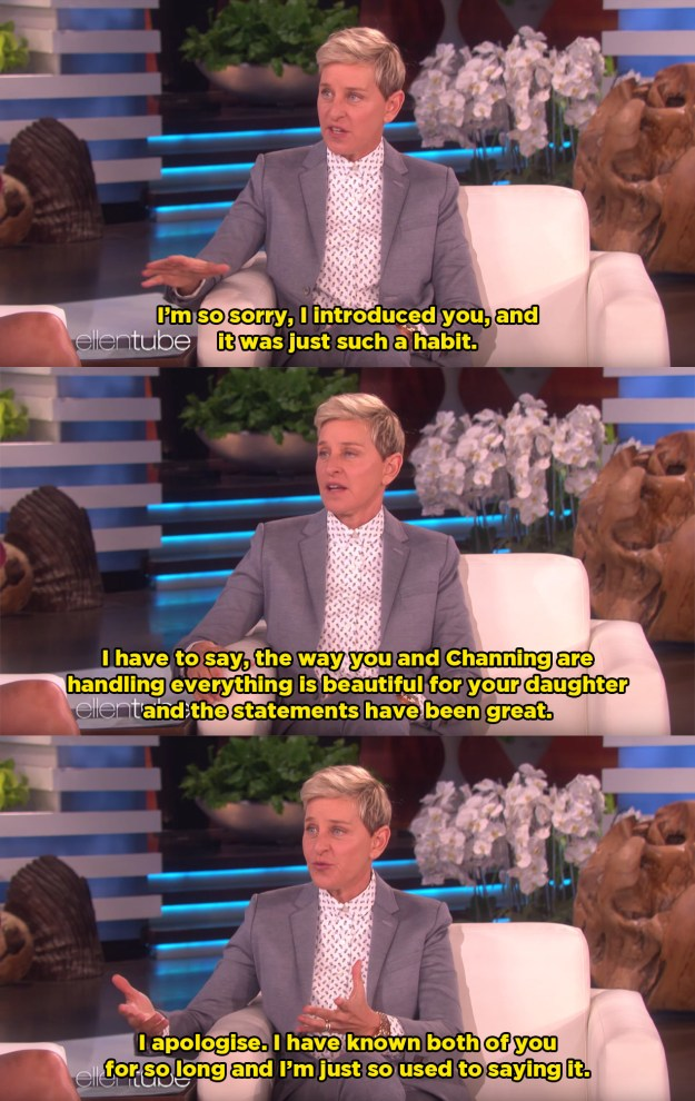 Later in the show, Ellen apologised for making the mistake.