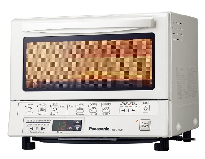 "The Panasonic FlashXPress toaster oven can fit a pizza up to 9 inches in diameter or up to four slices of bread. This model is highly rated and consistently tops ""Best Toaster Oven"" lists.""From reheating pizza to cooking fennel-crusted salmon, it preheats faster and is designed with specific functions in mind. Not to mention with two young kids, they can use it themselves without the fear of blowing up the house."" —Bradley Albert, FacebookGet it from Walmart for $112.19+ (two colors) or from Jet for $118.67."