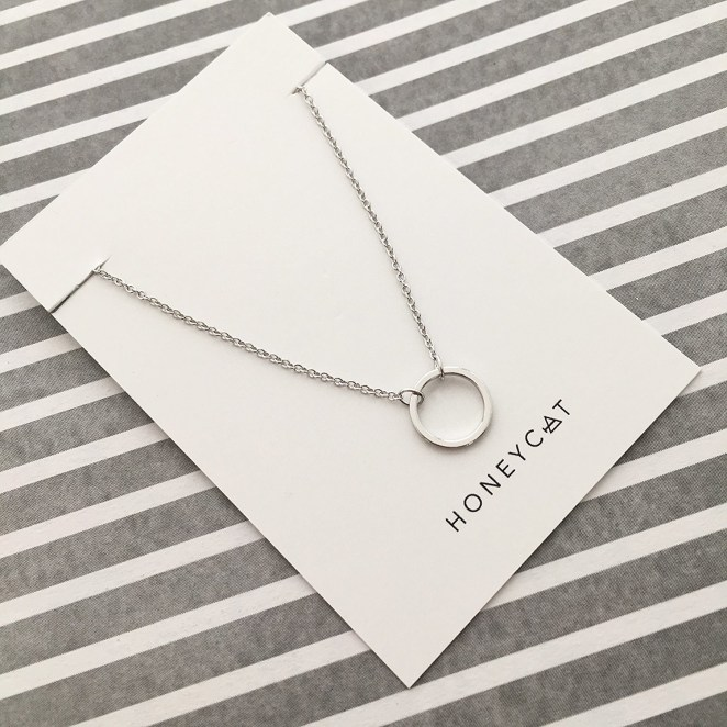 """Promising review: """"This necklace was absolutely perfect. Dainty, but not microscopic. The length made me nervous because it has only one clasp, but the pictures looked cute and it fits perfectly! I have had multiple people already ask me where I got it from and have referred them to Honeycat! Thanks so much for my favorite necklace! Will definitely be ordering again."""" —Amazon CustomerGet it from Amazon for $22 (available in three finishes)."""