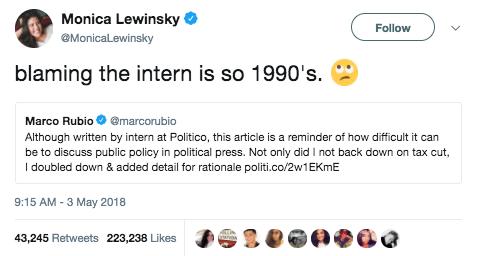 Monica Lewinsky shaded Marco Rubio.